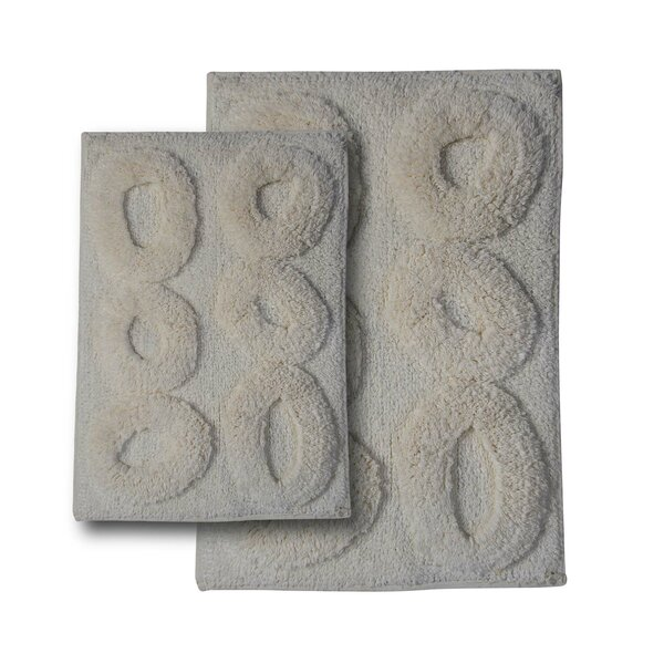 Castle 2 Piece Castle Hill 100% Cotton Pebble Spray Latex Bath Rug Set by Textile Decor